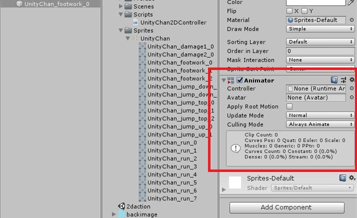 UnityちゃんにAnimatorコンポーネントを追加