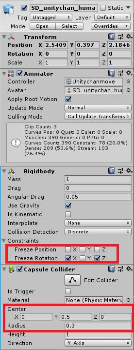 SD版UnityちゃんにRigidbodyとColliderをアタッチ