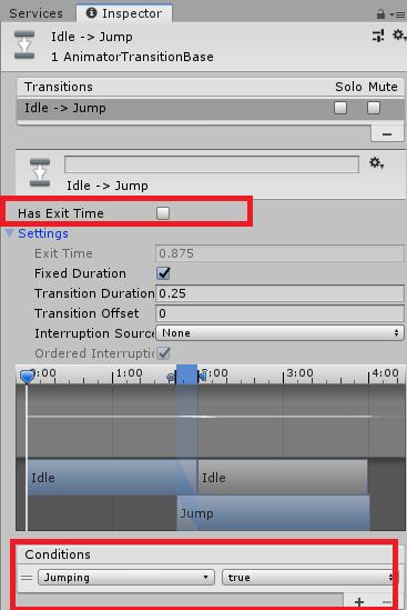 ジャンプするアニメーションの設定