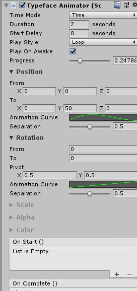 テキストアニメーションのパラメータ