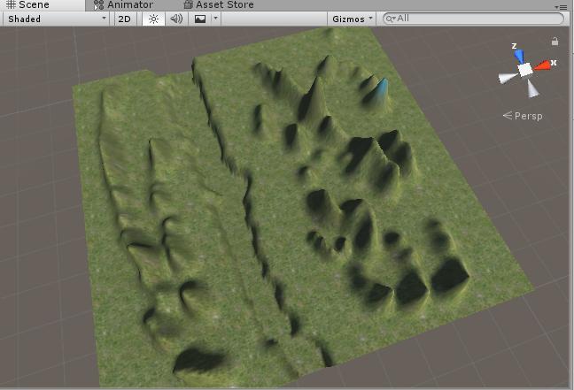 Terrain全体に緑のテクスチャを適用
